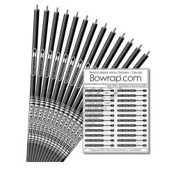 Personalised & Numbered Arrow Shaft Decals / Stickers / Labels White & Black