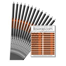 Personalised & Numbered Arrow Shaft Decals / Stickers / Labels Orange & Black