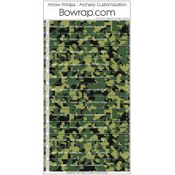 Custom Arrow Wraps Design 0091 - Digital Forest Camouflage