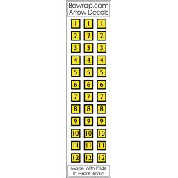 Arrow Number Decals Squares Nos 1 to 12