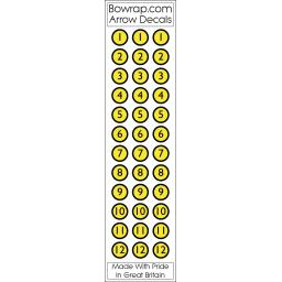 Arrow Number Decals Circles Nos 1 to 12