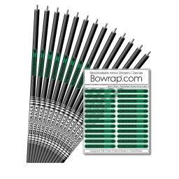 Personalised & Numbered Arrow Shaft Decals / Stickers / Labels Kelly Green & Black