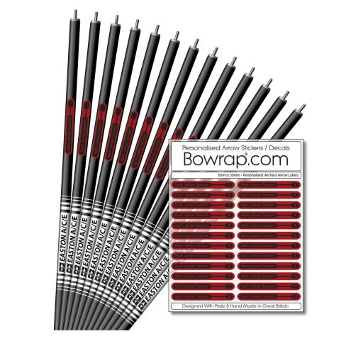 Personalised & Numbered Arrow Shaft Decals / Stickers / Labels Ruby Red & Black