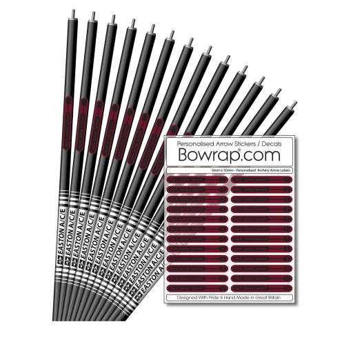 Personalised & Numbered Arrow Shaft Decals / Stickers / Labels Burgundy & Black