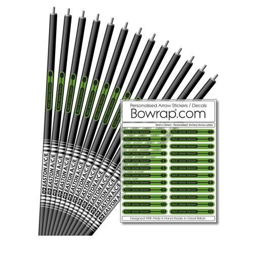 Personalised & Numbered Arrow Shaft Decals / Stickers / Labels Apple Green & Black