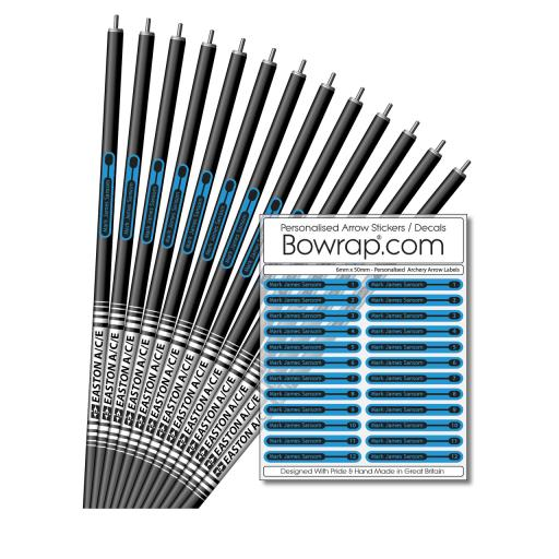 Personalised & Numbered Arrow Shaft Decals / Stickers / Labels Cyan & Black