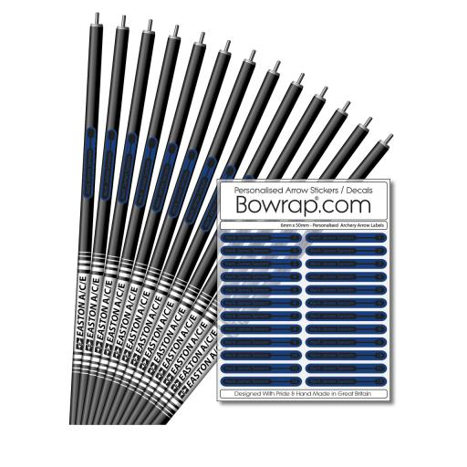 Personalised & Numbered Arrow Shaft Decals / Stickers / Labels Intense Blue & Black