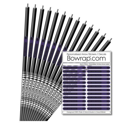 Personalised & Numbered Arrow Shaft Decals / Stickers / Labels Purple & Black